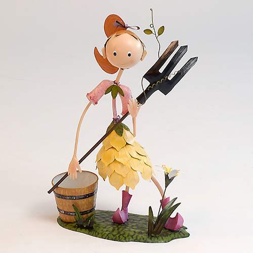 61cm Ornamental Girl Holding Rake with Planter