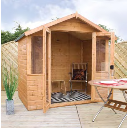 7ft x 5ft Solid Sheet Summer House - Fully Erected