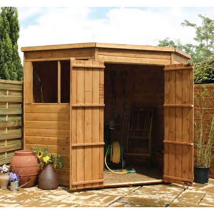 7ft x 7ft Shiplap Double Door Corner Shed - Fully Assembled