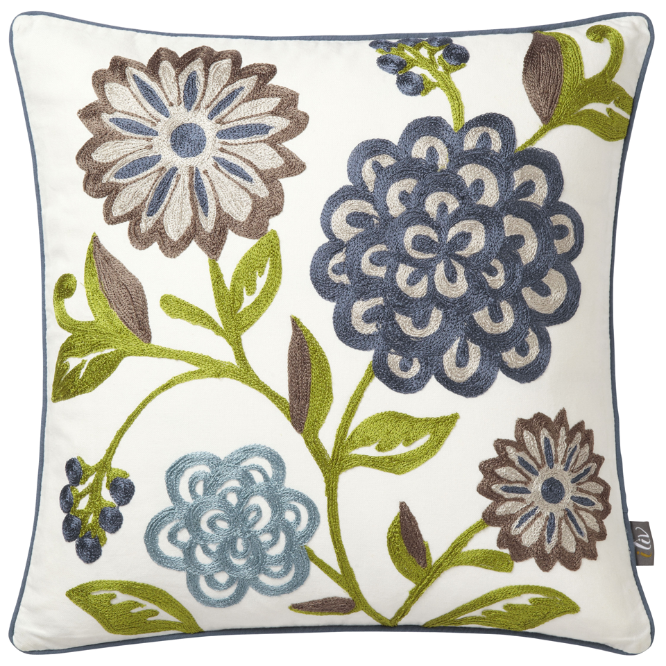 iliv Adara Sarasa Teal Embroidered Cushion