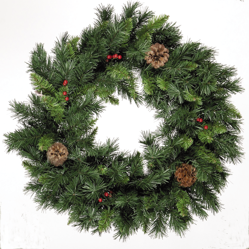2ft Rochester Spruce Wreath with Pine Cones & Red Berries