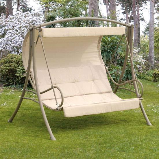 Deluxe Seville 3 Seater Garden Swing - Cappuccino