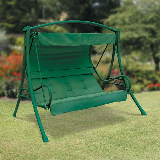 Deluxe Seville 3 Seater Garden Swing - Green