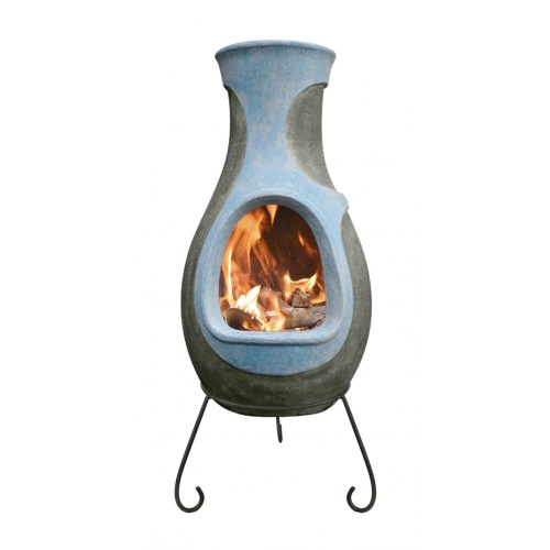 Blue Clay Water Chimenea with Steel Supports and  Rain Cover