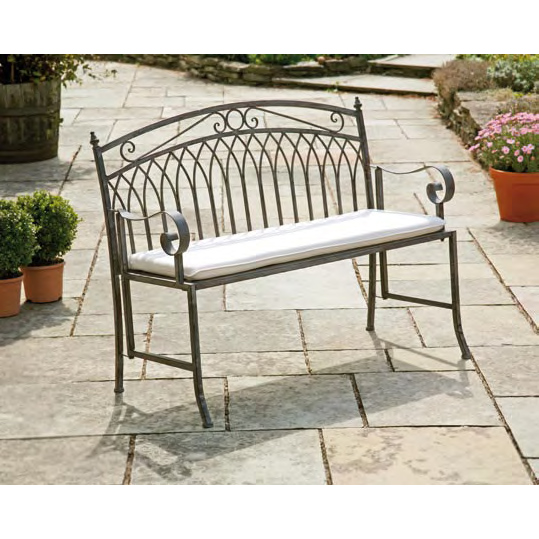 Versailles Antique Grey Iron Bench
