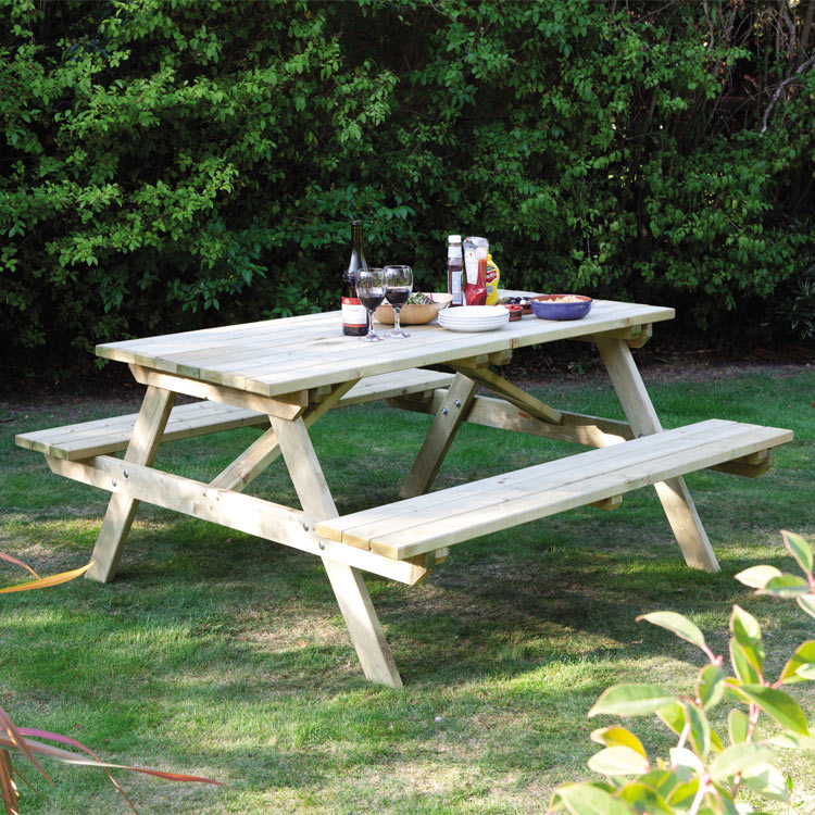 Wooden Six Seat Picnic Table