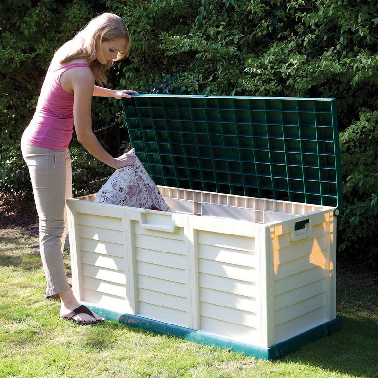 Large Green & Cream Garden Storage Chest