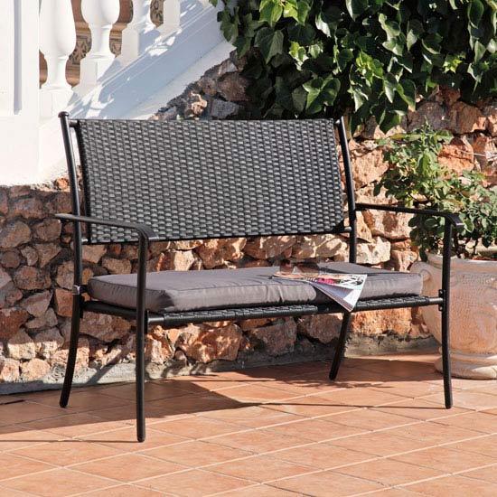 Suntime Amalfi Black Rattan Garden Bench with Cushion