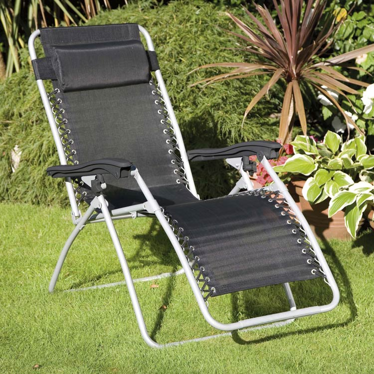 Set of 2 Black Deluxe Royale Reclining Sunloungers