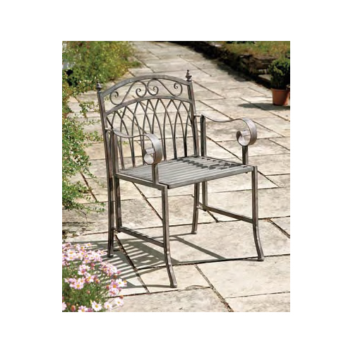 Versailles Antique Grey Iron Arm Chair