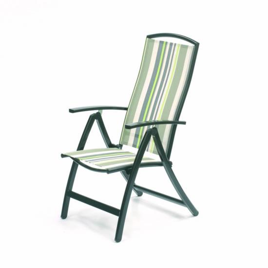 Antigua Reclining Textilene & Aluminium Chair (Mint Stripe)