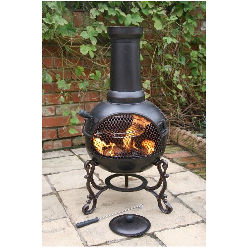 Ohio Medium Chimenea with BBQ Grill - Black