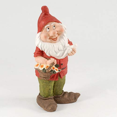 Medium Red Garden Gnome with Flowers