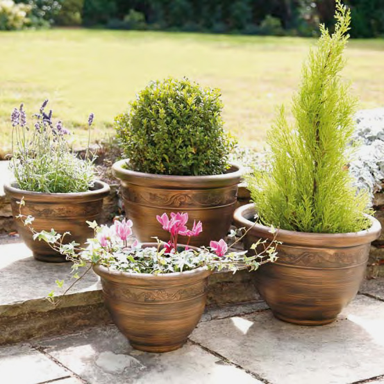 Pack of 4 Bronze Coloured Planters