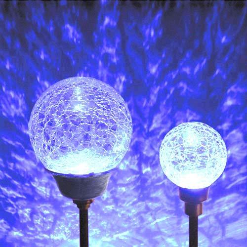 White Solar LED Border Ball Twin Pack