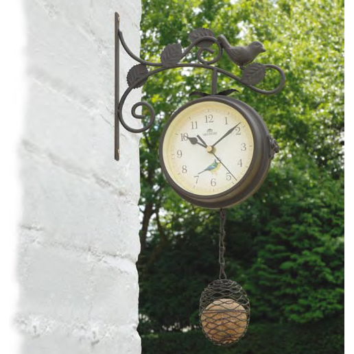 Bird Feeder Clock/Thermometer