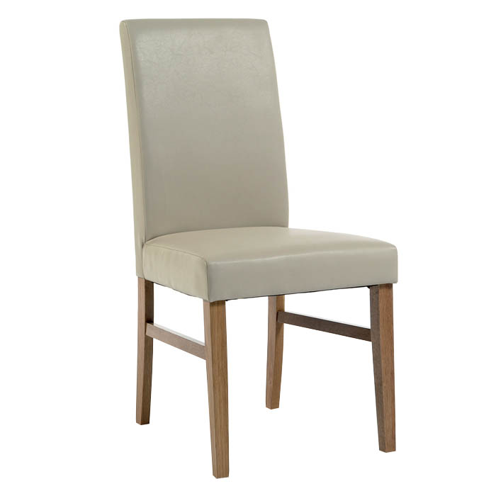 Santa Fe Upholstered Ivory Faux Leather Pine Chair