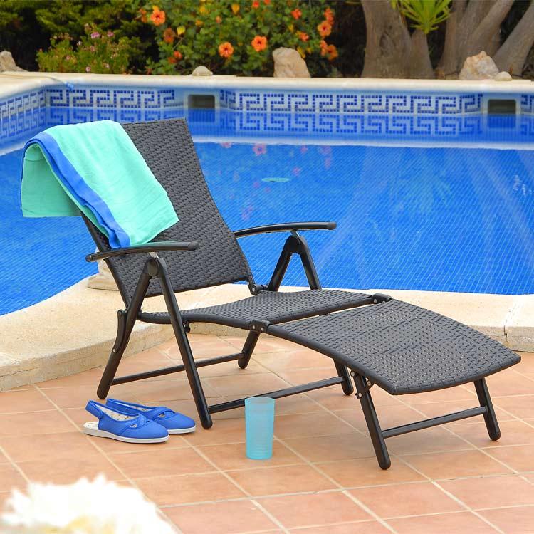 Amalfi Black Rattan Reclining Sunlounger