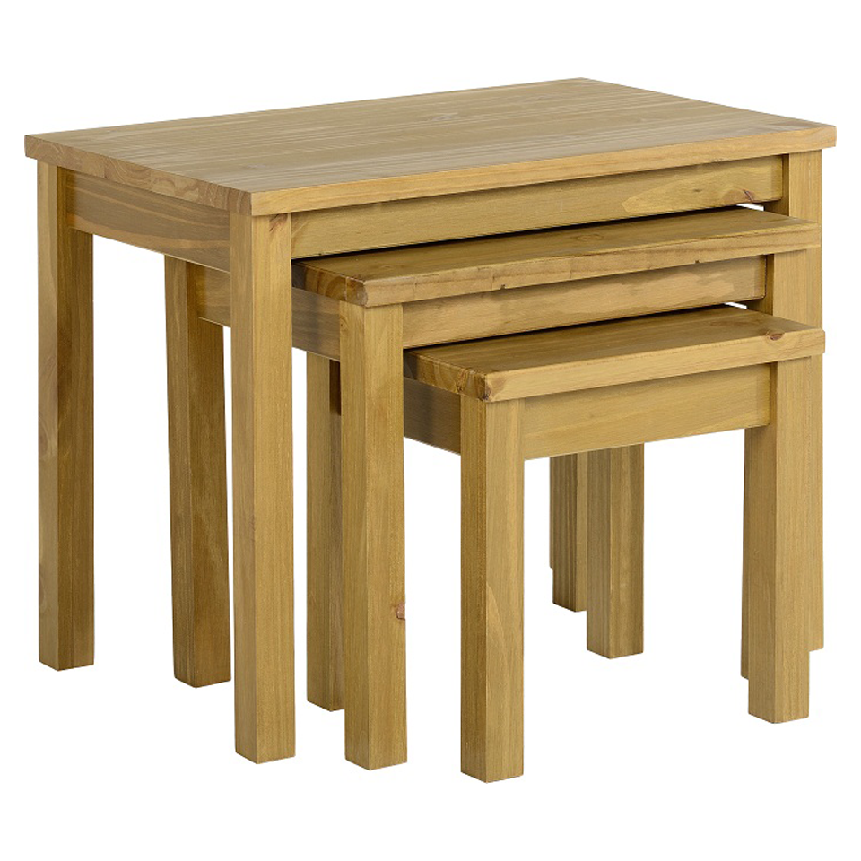 Ecuador Pine Nest of Tables in Oak Style Finish