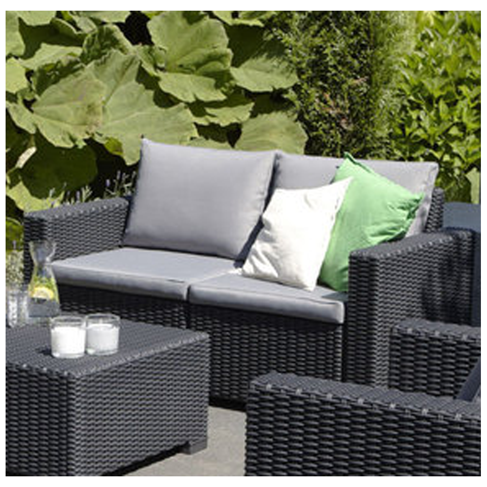 Allibert California Graphite Grey Rattan 2 Seat Sofa & Cushions