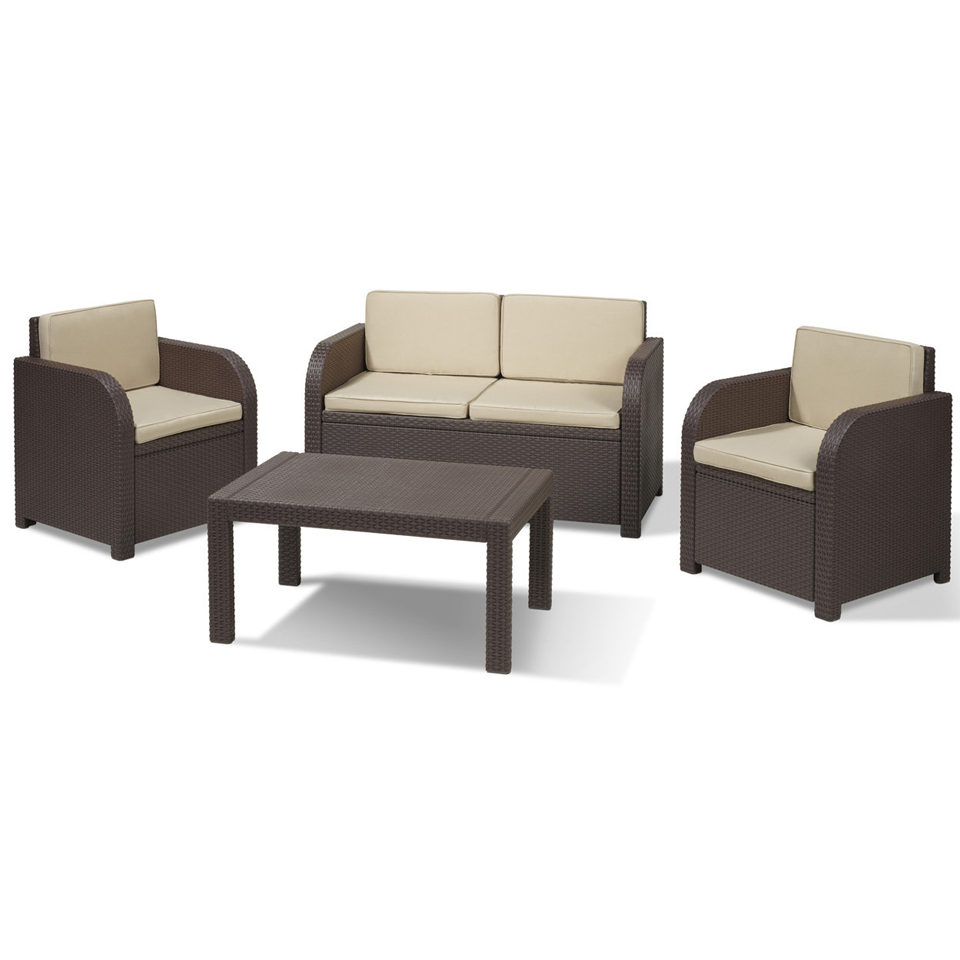 Allibert Oklahoma Brown Rattan 4 Piece Garden & Patio Furniture Set & Cushions
