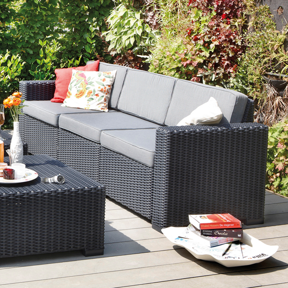 Allibert  California Graphite Grey 3 Seat Rattan Sofa & Cushions