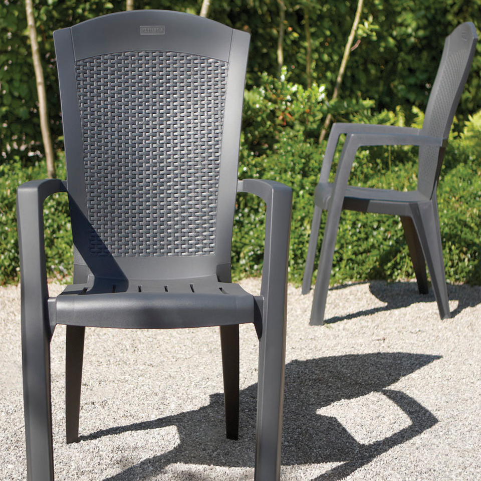 Pair of allibert graphite grey rattan style minnesota
