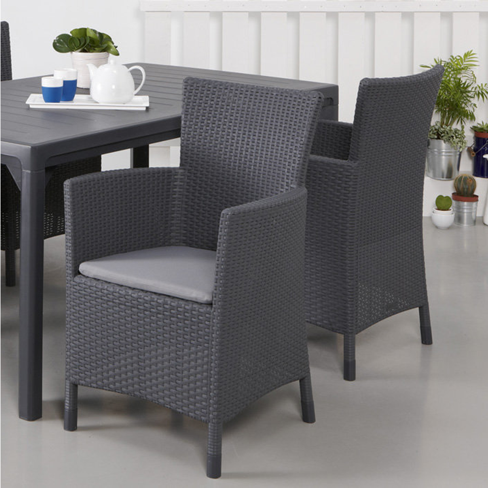 Allibert  Iowa Graphite Grey Rattan Dining Chair & Cushion