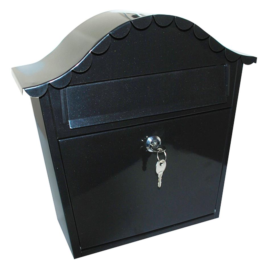 Black Steel Outdoor Post Box