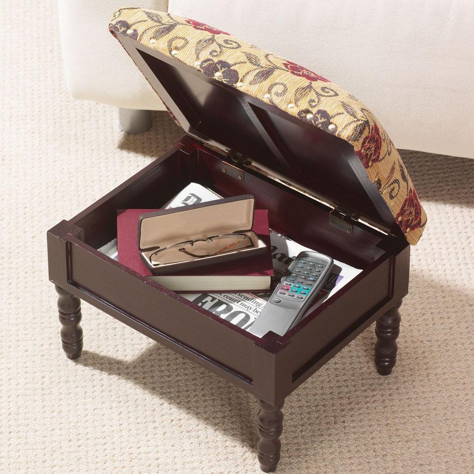 Upholstered Mahogany Style Storage Footstool