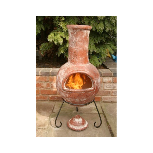 Colima Rustic Red Clay Chimenea with Metal Stand - Large