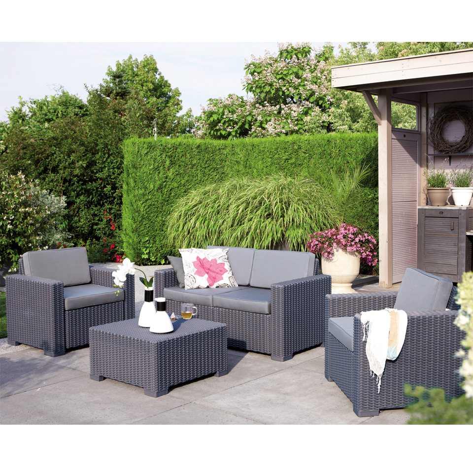 Allibert California Graphite 4 Seat Rattan Lounge Set with Cushions