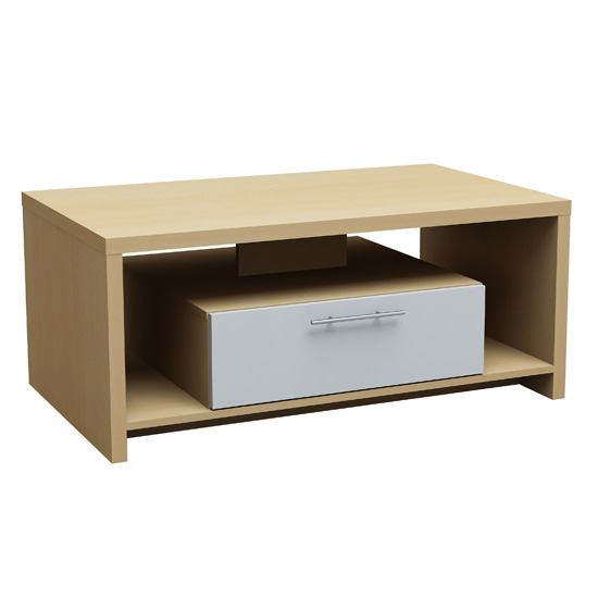 Oak and White Tamara Coffee Table with 1 Drawer
