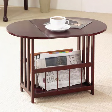 Drop Leaf Table with Integrated Magazine Rack