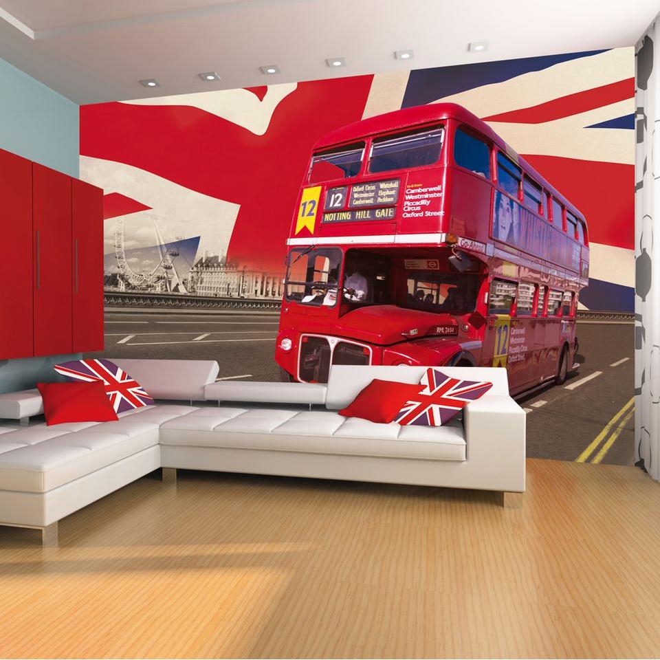 London Bus, Westminster Bridge  & Union Jack Wallpaper Mural