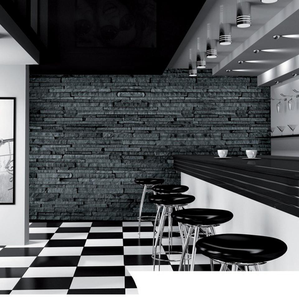 Charcoal Grey Slate Stone  Effect Wallpaper Mural