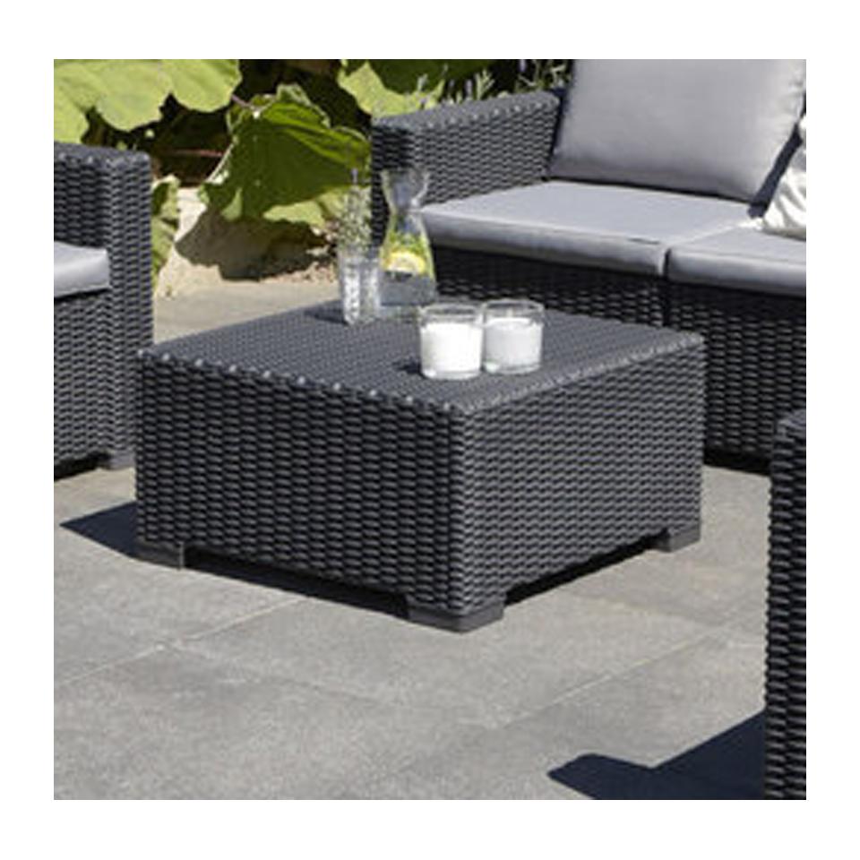 Allibert California Graphite Grey Outdoor Rattan Garden Square Coffee Table