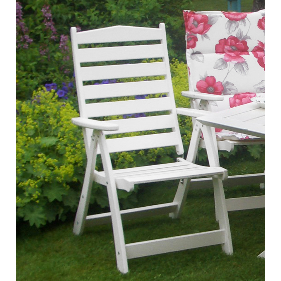 White Borgholm Premium Pine High Back Outdoor Reclining Dining Chair