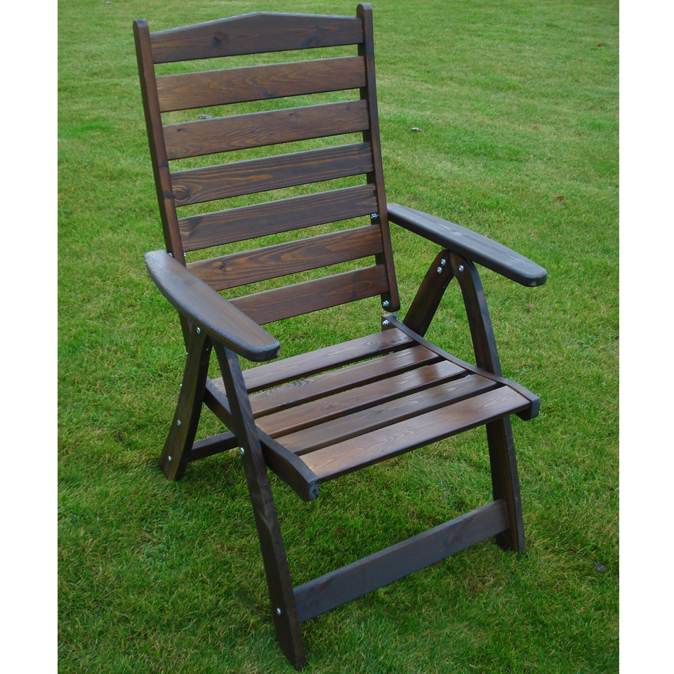 Black Borgholm Premium Pine High Back Outdoor Reclining Dining Chair