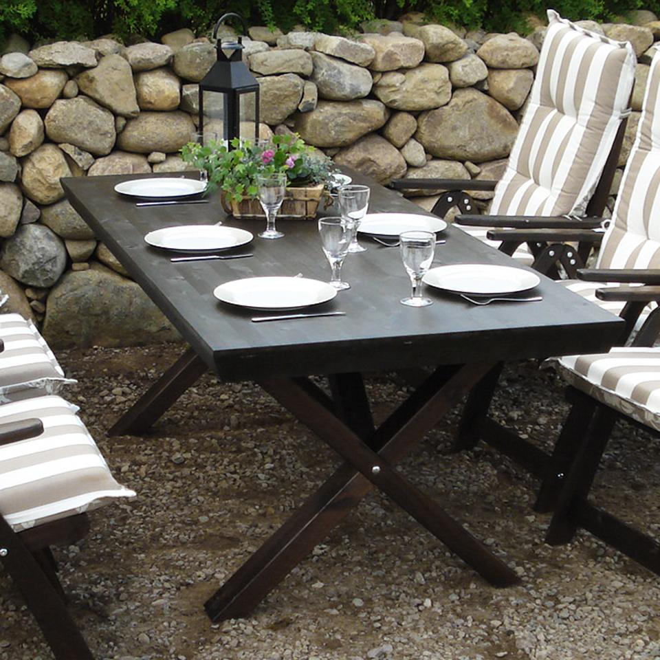 Black Borgholm Six Seat Outdoor Premium Pine Table