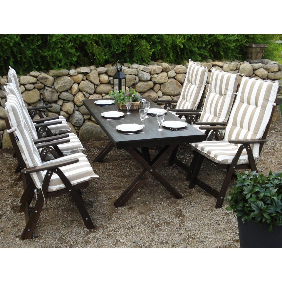 Black Borgholm Six Seat Outdoor Premium Pine Dining Set