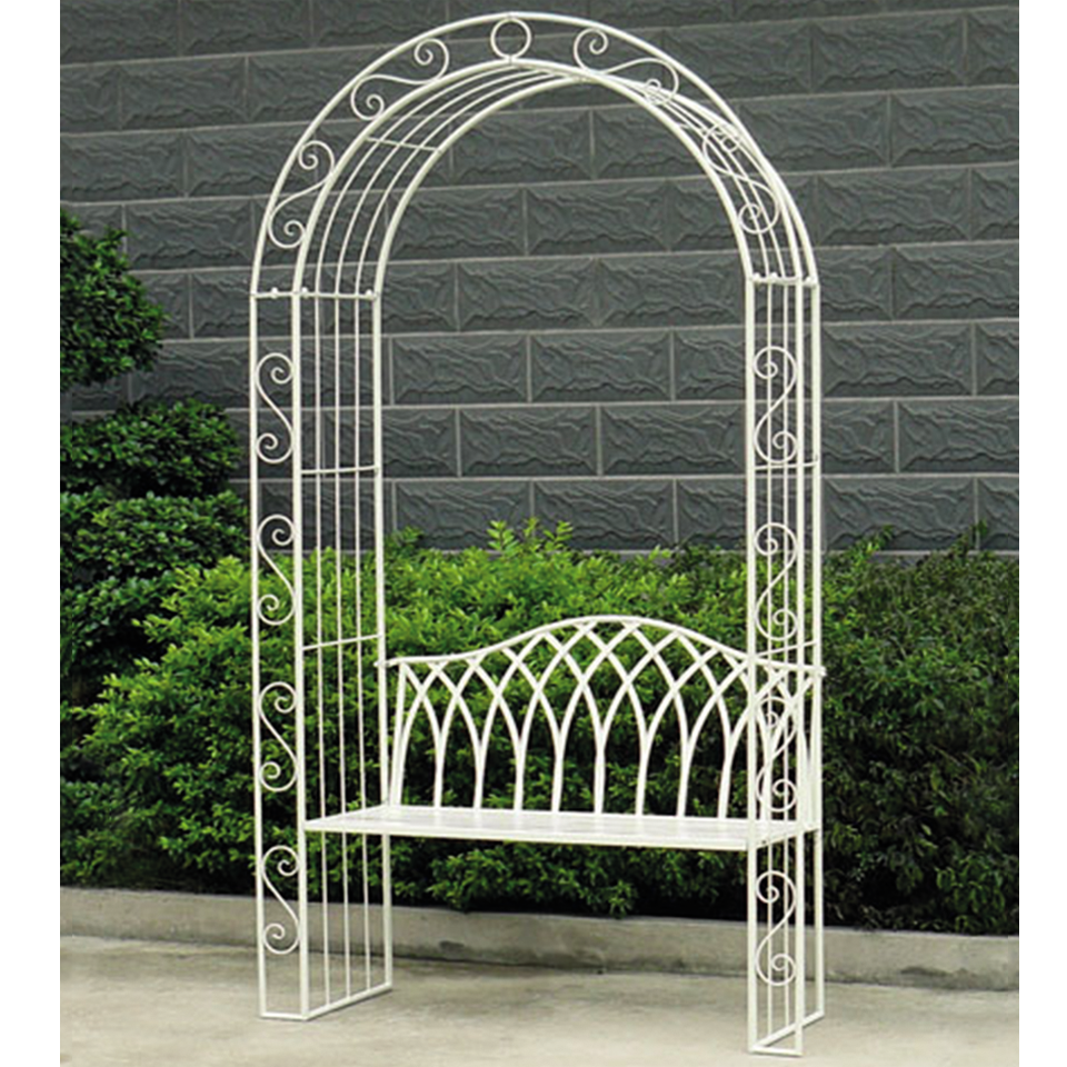 Gloucester 2 Seat White Cast Iron Arch Arbour Bench