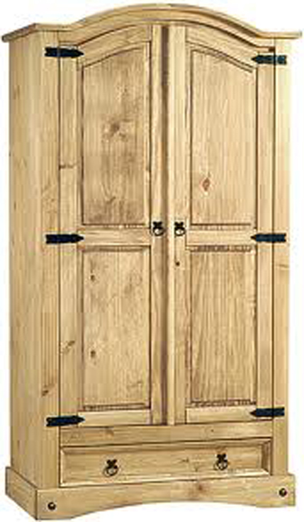Aztec Corona Arched Two Door Pine Wardrobe with Drawer