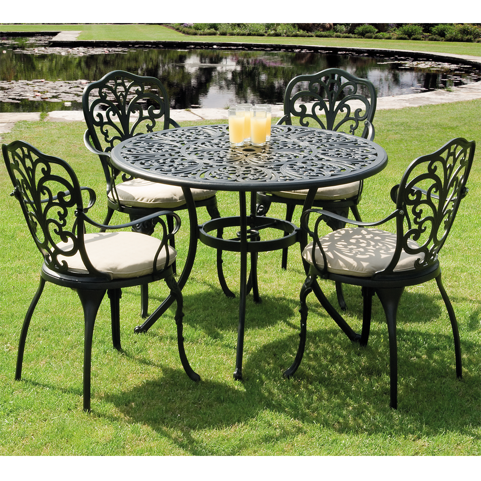 Sussex Black Cast Aluminium Five Piece Garden Dining Set