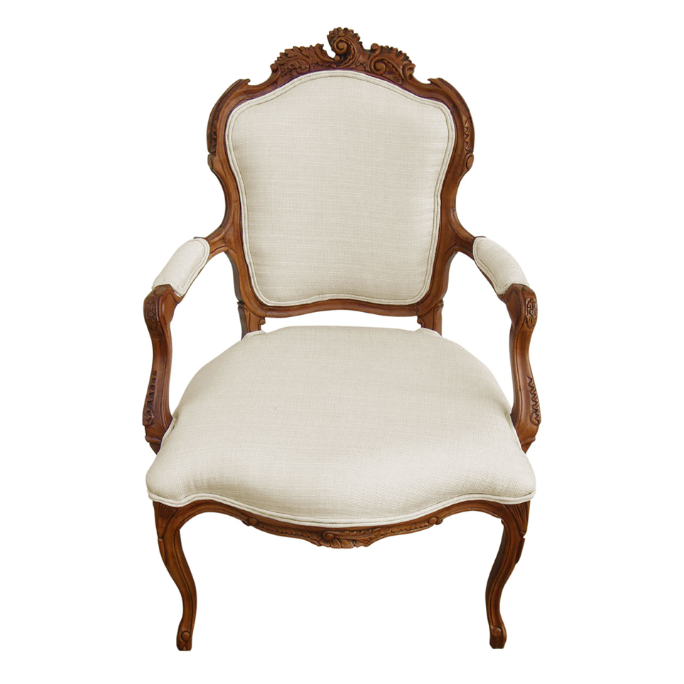 Valentina Rococo Cream Upholstered Armchair