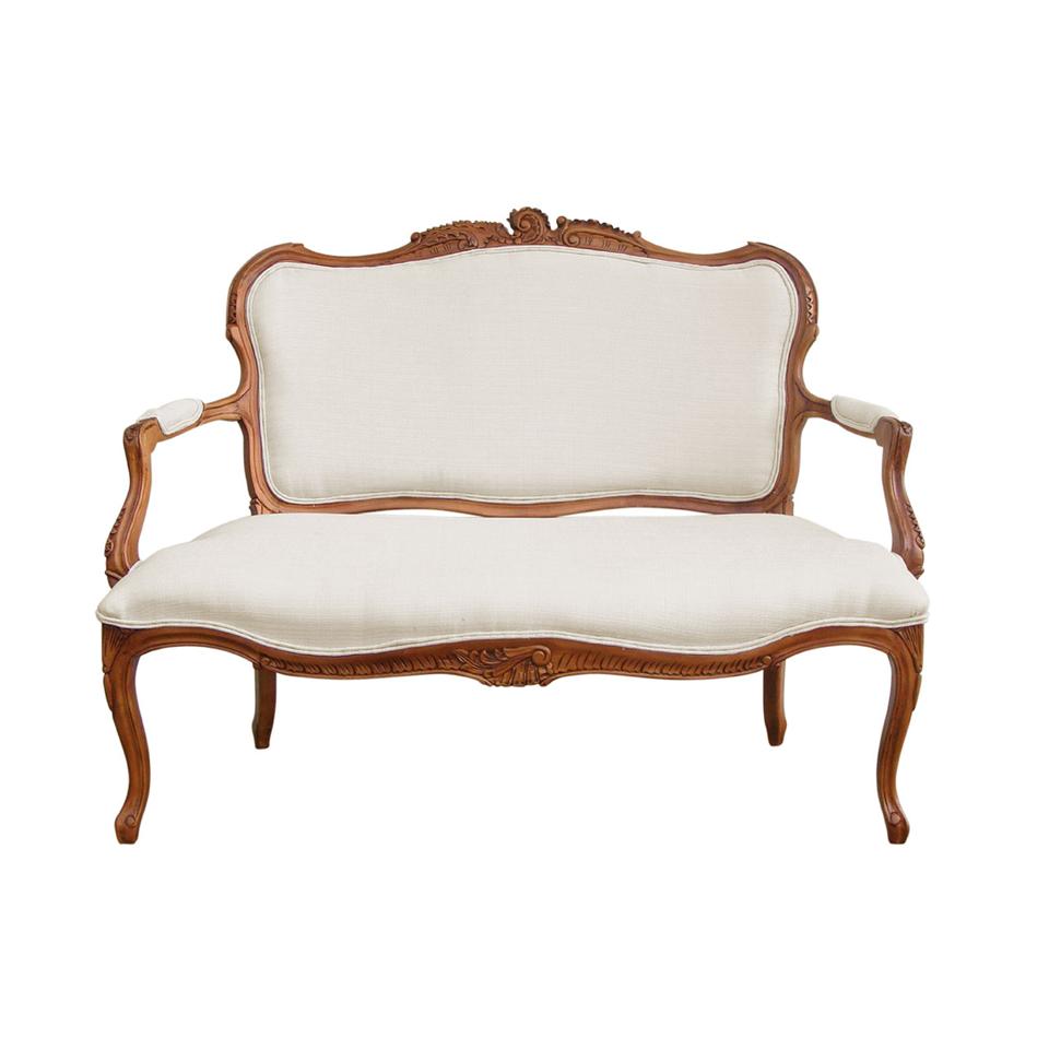 Valentina Rococo Cream Upholstered 2 Seat Sofa
