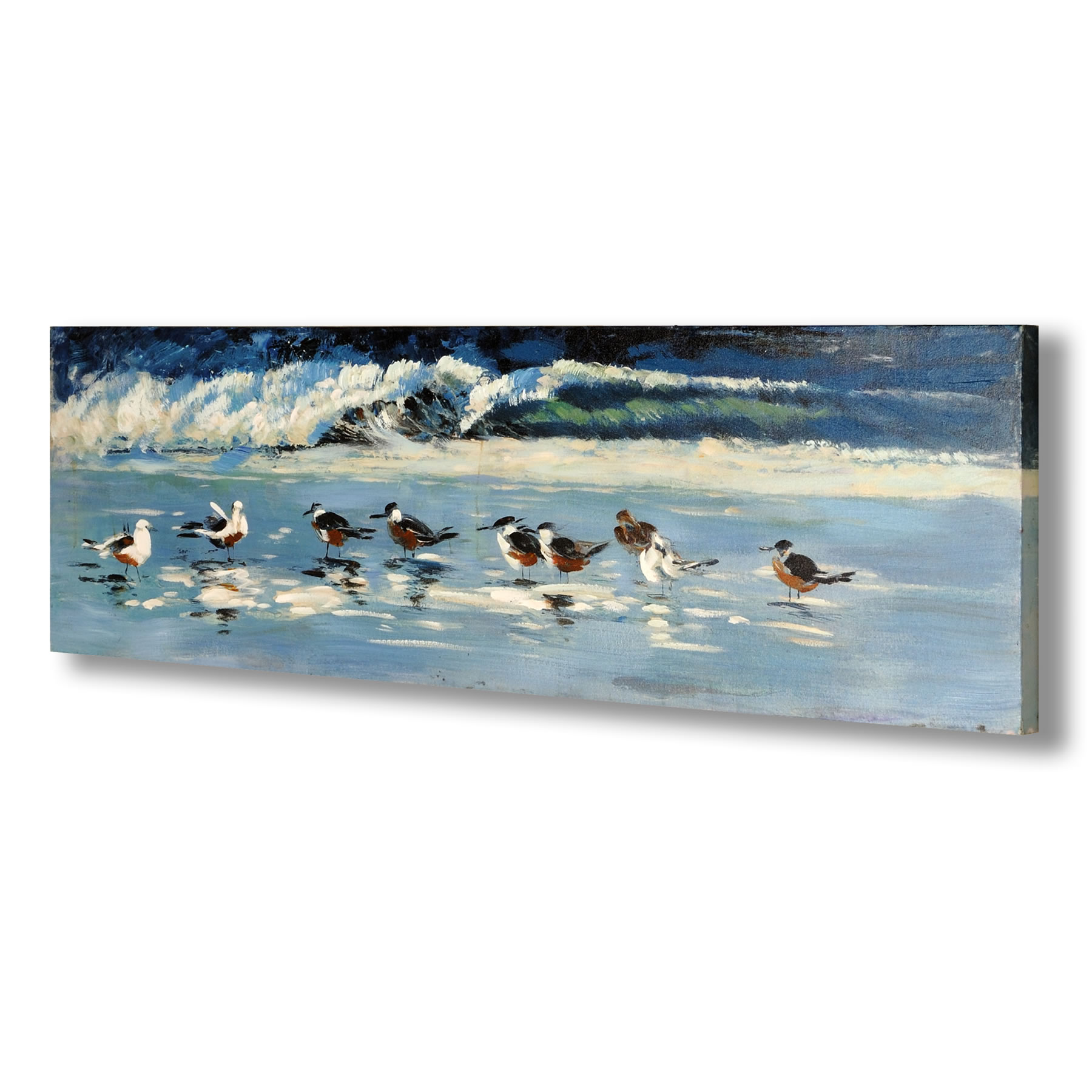 Hand Painted Birds by the Sea Canvas