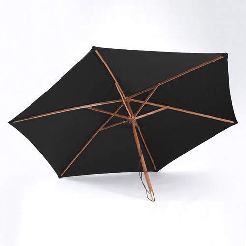 2.7m Black Wooden Garden Parasol
