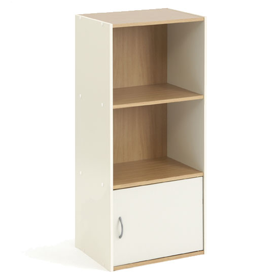 Camberley Beech and Cream 3-Tier Shelf Unit with Cupboard