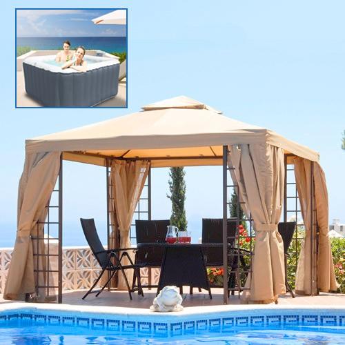 3m Barbados Gazebo & Alpine Spa Hot Tub